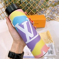 LV Big print Colorful Cloud Water Cup 304 Stainless Steel Vacuum Smart Temperature Insulation Cup Black
