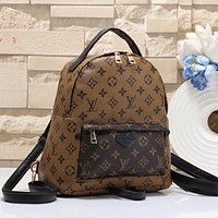 LV Louis Vuitton classic full printed letters ladies retro backpack school bag Brown