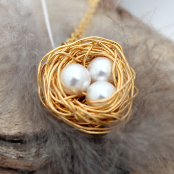 Bird's nest necklace with three Swarovski pearl eggs- Gold plated woven wire birds nest- Great wedding jewelry available to personalize