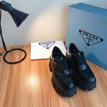 PRADA  Women Casual Shoes Boots fashionable casual leather Women Heels Sandal Shoes