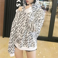 Women Casual Fashion Personality Letter Print Ripped Long Sleeve Loose Hooded Sweater Tops