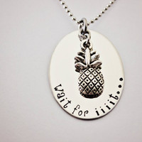 "Psych inspired ""Wait for iiiit..."" hand stamped Shawn and Gus custom made necklace with pineapple charm"