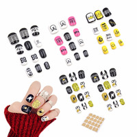 24pcs/lot Bigbang Pattern Fake Nails Japanese Pure Color False Nails  with Glue Multi Width Full Nail Nail Art acrylic nail