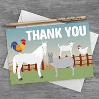 Farm Animal Thank You Card Barnyard Birthday Party Card Printable Animal Cards Horse Rooster Donkey Goat Chicken Barn Animals Greeting Card