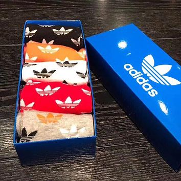 ADIDAS Popular Women Men Casual Breathable Pure Cotton Sport Socks+Gift Box