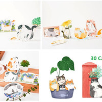 30 cat paper card die cut paper embellishment cute cat meow meow drawing card cat prints cat illustrations cat themed art journal decor card