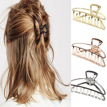 Women Girls Geometric Hair Claw Clamps Hair Crab Moon Shape Hair Clip Claws Solid Color Accessories Hairpin