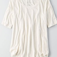 AEO Soft & Sexy Mixed Fabric T-Shirt, Cream