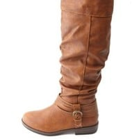 Bamboo Buckled & Belted Knee-High Riding Boots - Chestnut
