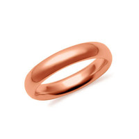 4mm 10K Rose Gold Hollow 2.0mm Thick Comfort Fit Wedding Band Ring S5-5.75: RingSize: 5