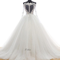 Beautiful Flower Off Shoulder Long sleeve  Knee Length Princess Ball Gown Wedding Dress with Sheer Low Back