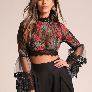 Black Rose Lace Bell Sleeve Crop Top