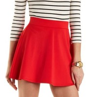 Solid High-Waisted Skater Skirt by Charlotte Russe
