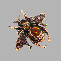 Factory Direct Men Classic insects  Bee Brooch vintage Rhinestone Broach Purple Bee Brooches Hijab Pins For Women X1212