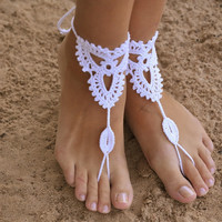 Knit Anklet Barefoot Sandals Beach Wedding Bridal Yoga dance Foot Jewelry 1 pair