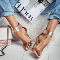 Fashion sandals summer new products pointed toe hollow stiletto single shoes gold