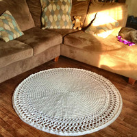 """Large, Thick and Soft Crochet 51"""" Round Swirl Doily Area Rug Wool Handmade Many Color Choices (shown in Off White)  Mat Housewares Decor"""