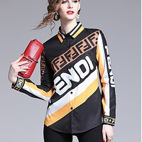 Fendi New fashion letter print contrast color long sleeve top shirt