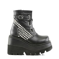 Demonia Studded Black Vegan Leather Stacked Wedge Ankle Boots