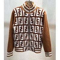 Fendi New fashion more letter print long sleeve coat women