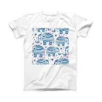 The Ethnic Navy Seamless Aztec Elephant ink-Fuzed Front Spot Graphic Unisex Soft-Fitted Tee Shirt