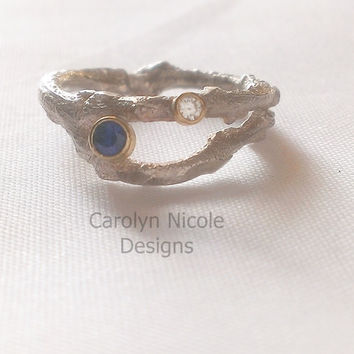 Sapphire and Diamond Branch Ring by Carolyn Nicole Designs