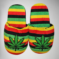 Rasta Plush Adult Unisex Slippers