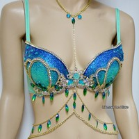Blue Turquoise Glitter Mermaid Top Bra with Gold Chain
