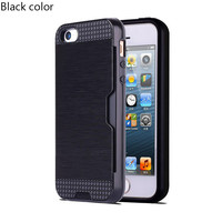 Black Shock Proof Plastic TPU Hybrid Armor Card Holder Slot Silicone Phone Back Case Cover For Apple iPhone 7 7 Plus 6 Plus 6s Plus 6 6S 5 5S SE