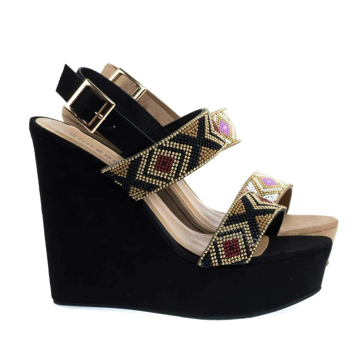 Image of Charade65 By Bamboo, Platform Wedge Sandal w Festive Tribal Beaded Strap w Faux Suede