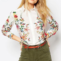 Floral Print Long Sleeves Shirt Collar Blouse