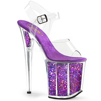 "Flamingo 808GF Purple Hologram Glitter Platform Sandal Shoe  8"" High Heels"