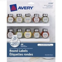 Avery Embossed Round Labels, Matte Silver Foil, 2 Inch Diameter, Pack Of 48 (41466)