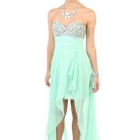 chiffon high low prom dress with stone detailed bodice - debshops.com