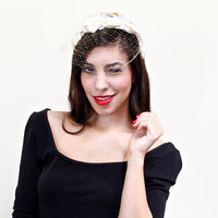 Vintage White Fascinator Hat - Mid Century Flower Bridal Veil Fashion Accessory / Velvet Bow