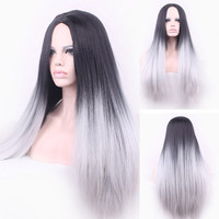 70cm Long Black To Gray Ombre Hair Cosplay Wigs Synthetic Hair Heat Resistant Straight Women Wig Perucas