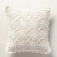 Istria Crocheted Pillow by Anthropologie Ivory 14 In. Square Pillows