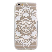 Carved Mandala Pattern Flower White TPU Soft Case Skin Cover For iphone 6s 4.7Inch Casual = 1958042500