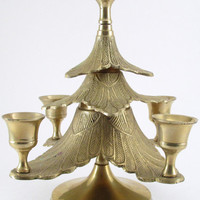 Brass Christmas Tree Candle Holder, Vintage Candlestick Holder, Gold Color Christmas Decor, Christmas Table Centerpiece, Holiday Decor