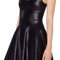 Wet look faux leather skater dress