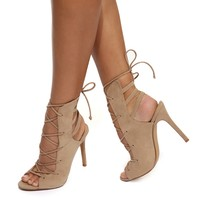 Natural In To You Lace Up Heels