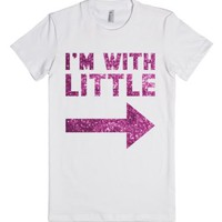 I'm With Little (Sparkle)-Female White T-Shirt