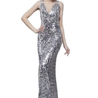 Beautifly Women's Sexy V-neck Full Sequins Formal Ball Gown