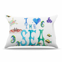 "Catherine Holcombe ""I Love The Sea"" Ocean Typography Pillow Case"