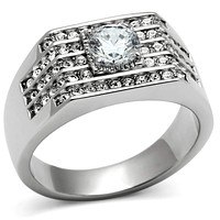 Mens Rings TK351 Stainless Steel Ring with AAA Grade CZ