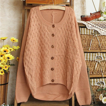 Paneled Ribbed Button Down Cardigan
