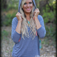 Easy Goin' Navy striped Hoodie