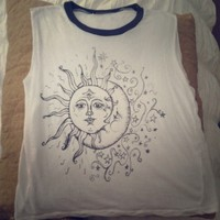 Brandy Melville Sun/Moon Cropped Muscle Tank