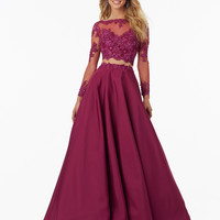 Loverxu Elegant Two Piece Long Sleeve A Line Prom Dresses 2016 Appliques Beaded burgundy Taffeta Party Gown Vestido De Festa