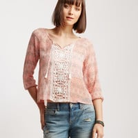 3/4 Sleeve Lace Overlay Peasant Top